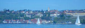 Meersburg vom Tretboot auf dem Bodensee aus gesehen