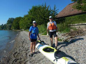 Ute Jansen und Markus Frommlet mit Zweierkajak bei der ersten Umrundung Baden-Württembergs