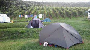 Zelten bei Meersburg bei der ersten Umrundung von Baden-Württembergs
