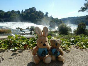 Zwei Freunde am Rheinfall bei der ersten Umrundung Baden-Württembergs