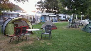 Zelten auf dem Rhein-Camping-Waldshut bei der ersten Umrundung Baden-Württembergs