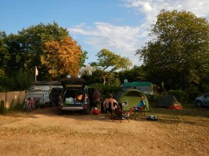 Zelten auf Camping Gugel in Neuenburg bei der ersten Umrundung Baden-Württembergs