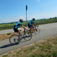 Ute Jansen und Markus Frommlet bei Rennradetappe von Neuenburg nach Kehl